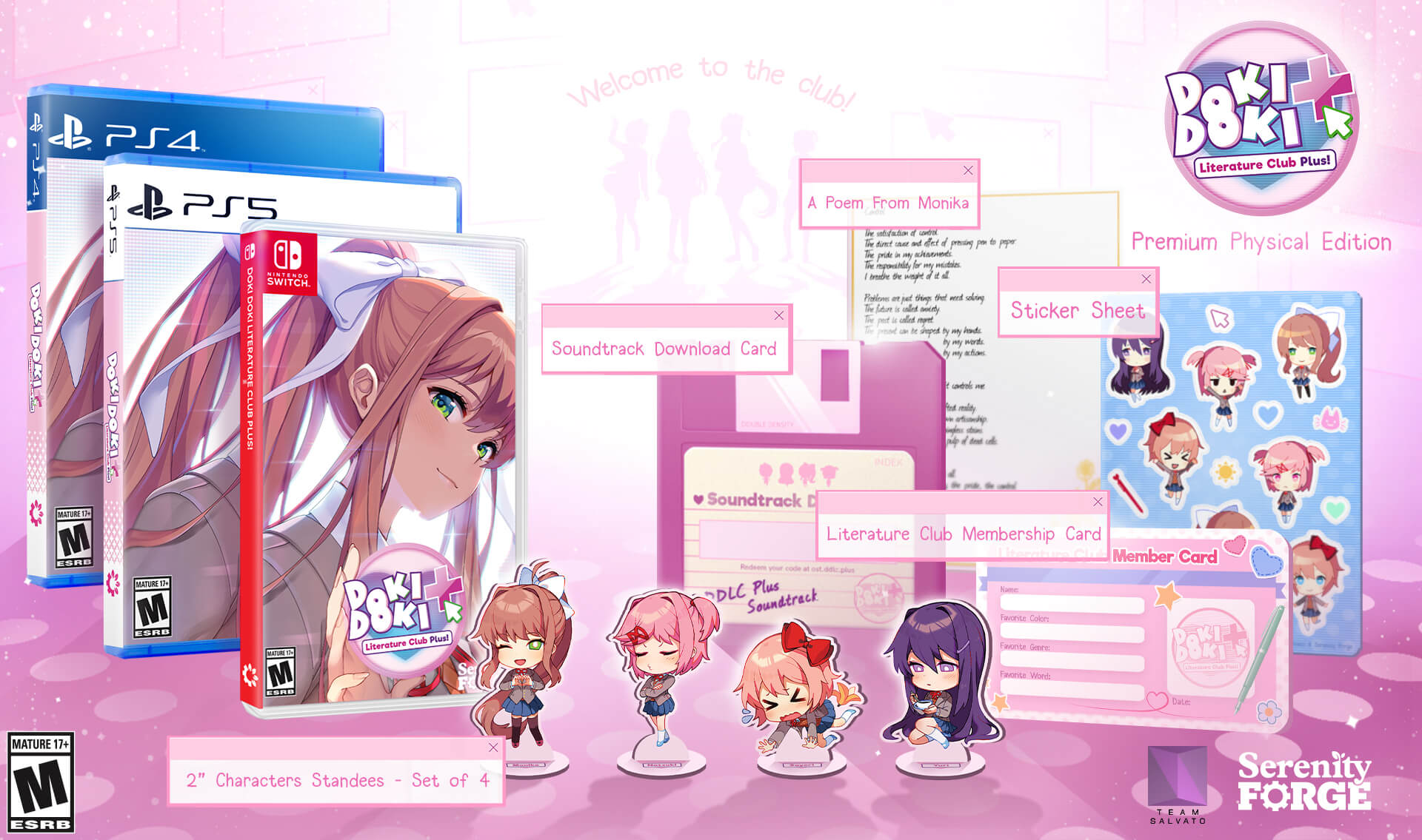 Product shot showing PS4, PS5, and Nintendo Switch game boxes for Doki Doki Literature Club Plus! with the other items you get in this special preorder